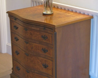 Georgian Style Serpentine-Fronted Burr Walnut? Chest of Drawers