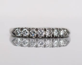 Circa 1940's Art Deco Platinum .70cttw Transitional Round Cut Diamond Engagement Ring - VEG#822