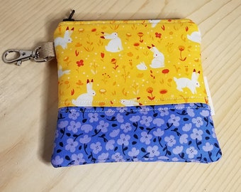 Rabbit Coin Purse - Yellow Bunny - Blue Floral - Keychain Pouch - Change purse - Zippered Bag - Bunnies - Gifts under 10 -