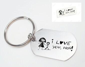 Kid Drawing Keychain Mom Keychain Grandma Keychain Engraved Key chain For Mom Drawing by Kid on Keychain Grandma Gift Mom Gift Child Drawing