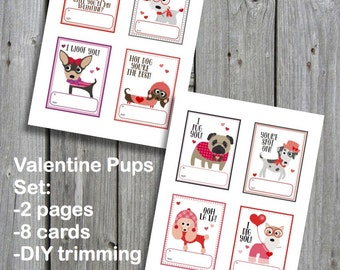 Printable Valentine's Cards - Valentine Pups - Instant Download
