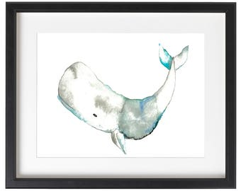 Whale Watercolor Painting - art print