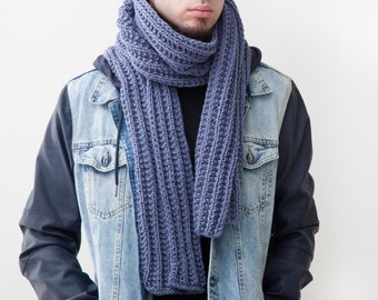 Blue Men's Scarf, Handmade Knit Scarf for Him, Unisex Scarf, Fathers Day Gifts, Extra Long Scarf for Men, Winter Accessories, Boyfriend Gift