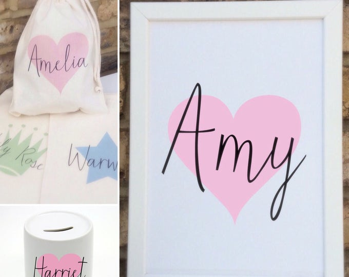 Children's gift set | Framed Print | Gft bag | Moneybox | Wall decor | Home decor | Personalised prints | Nursery decor | New baby gifts