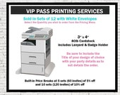 VIP Pass Printing Services, Printed VIP Pass Party Invitations with any PrintVillaInvites Design, Sold in Sets of 12