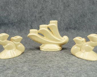 Bauer Pottery CandleHolders Set of 3 c. 1930s - 40s