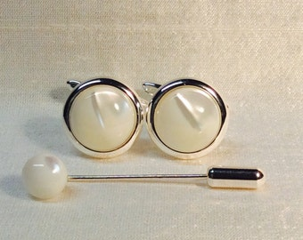 Mother of Pearl Cufflinks in a Silver finish. Matching Tie Pin optional.