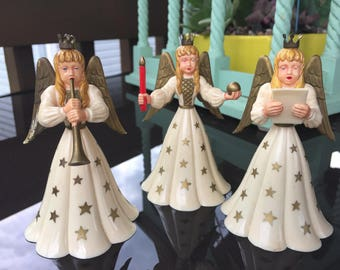 Vintage German plastic angels - set of 3 - small candleholders - musical angels - Germany - mid century vintage christmas - angel candlehold