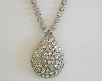 Vintage Silver Tone Tear Drop Clear Rhinestone Pendant Necklace