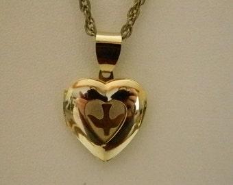 Gold Tone Heart Locket Dove Necklace Pendant