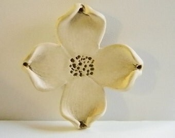 Large Ceramic Dogwood Flower Floral Pin Brooch