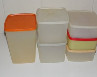 Collection of Six Vintage Tupperware Storage Containers With Lids