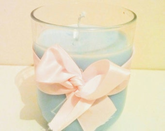 Craft candle natural wax of pastel blue colza, handmade in France, decor pastel pink ribbon, Christmas gift