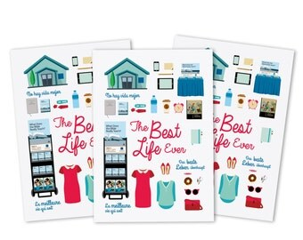 "SheepNumberOne Set of 3 Postcad  ""Life"" for Girls Sisters / The Best Life Ever / 14,8 cm x 10,5 cm"