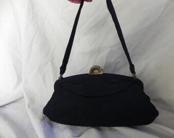 1950's Black Wool Handbag Purse by Garay
