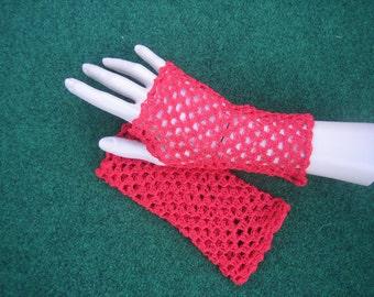 Red fine fingerless crochet gloves,ladies gloves,ladies accesseries,summer gloves,burlesque gloves,goth gloves,driving gloves,prom gloves