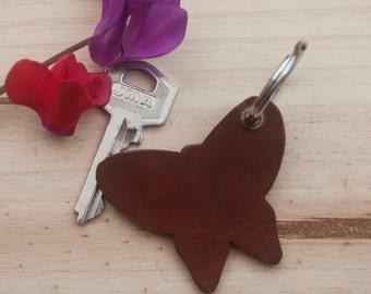 Butterfly Leather Keychain. Leather Key Chain. Leather key holder. Leather key fob. Leather Key ring. Animal Key chain. Keychain.