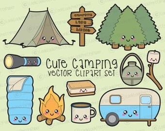 Premium Vector Clipart - Kawaii Camping Clipart - Kawaii Camping Clip art Set - High Quality Vectors - Instant Download - Kawaii Clipart