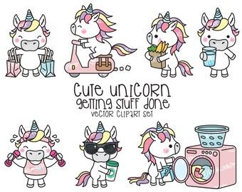Premium Vector Clipart - Kawaii Unicorn - Cute Unicorn Planning Clipart - Instant Download - Kawaii Clipart