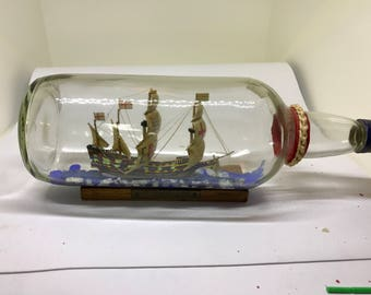 English Galleon Antique ship in a bottle