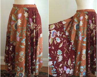 Vintage 1980s Ellen Tracy Romantic Full Skirt Pockets FLORAL Fitted Waist XS S