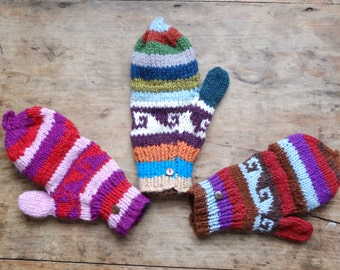 Funky Multi Coloured Convertible Striped Mittens / Fingerless Gloves
