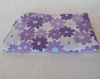 Retro Driglo Floral Sheet Vintage Fabric Flower Power Flat Single Bed Sheet in Purples - 1970's  #10311