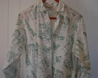 Diane von Furstenberg Vintage Ruins Button Down Shirt