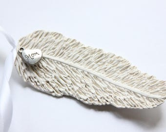 Handmade Clay Feather Memorial Ornament with Charm, Angel Feather, Condolence Gift, Sympathy Gift, Bereavement Gift. Loss of Loved One Gift