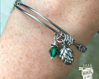 Beer Hop Charm Bracelet; Beer Jewelry, Bangle, Braided, Craft Beer Lover; Beer gift, Gifts for Women, Green Crystal