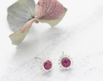 Silver And Rose Cut Ruby Stud Earrings