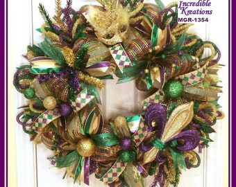 Mardi Gras Wreath; Mardi Gras Themed Wreath; Carnival Wreath; Fat Tuesday Wreath; Wreath for Front Door or Wall