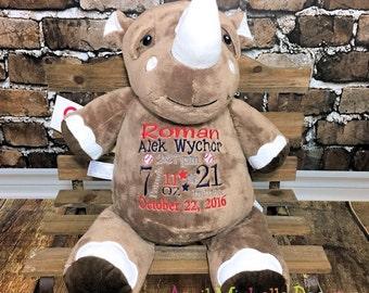 Personalized Rhino, Rhino Stuffed Animal, Birth Stat Rhino, Baby Shower Gift, Baby Keepsake Gift, Rhinoceros Plush, Custom Rhino, Rhinoceros