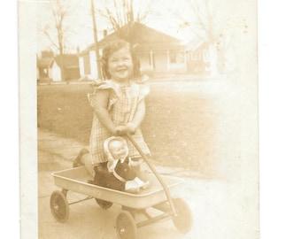 "Vintage Photo ""Little Mommy Pretend"" little girl, doll, old photo, snapshot, photography, paper ephemera"