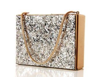 1950s Silver & Gold Thread Confetti Compact Purse / Vintage Glitter Carry All Vanity Case / 50s Metallic Mini Box Evening Bag / Zell