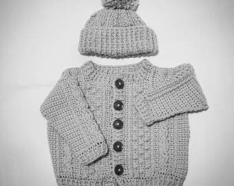 Baby Sweater with Matching Hat