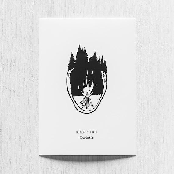 Poster Art Print - Bonfire Blackwork Series A5 Size - Fire Forest Adve...