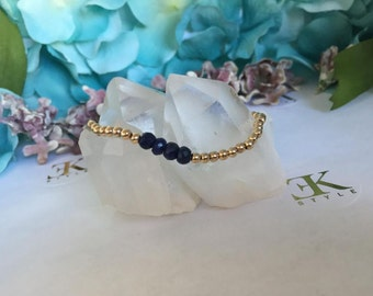 Sapphire Gold Filled Bracelet, Stretch Bracelet, Stack Bracelet