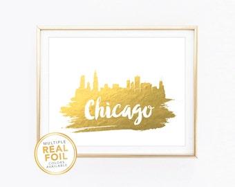 Chicago Skyline, Illinois, United States, Real Foil Print, Silver foil, Gold foil, Home Decor, Wall Art, Gallery Art, Modern Art.