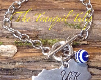 UK Wildcats University of Kentucky Charm Bracelet Hand Stamped BBN Jewelry - Stainless Steel Charm Bracelet