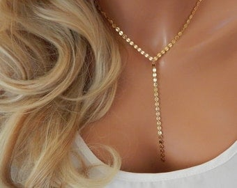 Lariat Necklace, Coin Lariat Necklace, Chain Drop Lariat, Gold or Silver Y Necklace, Girlfriend Gift, Y Necklace [522]