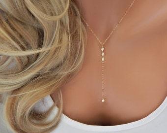 Gold CZ Lariat Wedding Necklace, Gold Diamond Y Necklace, Girlfriend Gift, Wedding Lariat Necklace, Minimal Necklace [508]