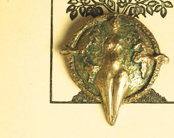 Vintage Gaia, Earth Goddess Pin Brooch - Bronze - Pagan, Wicca, Witchcraft, Earth Magic
