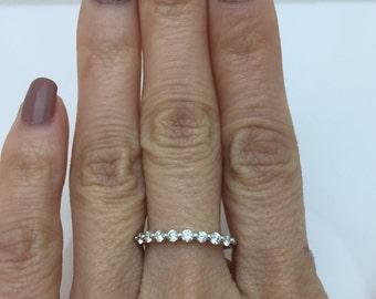 8 Diamond Shared Prong Wedding Band - 14K Made to Order, Customizable