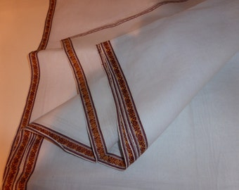 White Cotton Handwoven Fabric with Small Hearts Border Dhottia