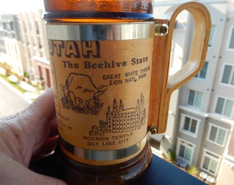 Brown Glass Mugs - Utah and Nagasaki - Vintage