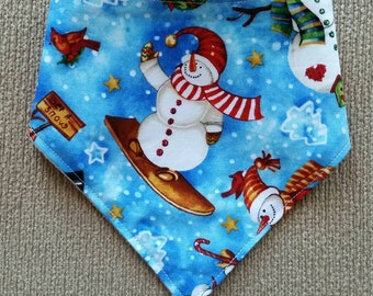 Snowmen Christmas baby bandana bib, cotton upper, plain white minky backing, Australian Handmade