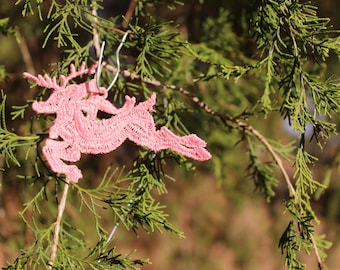 Pink Embroidered Lace Reindeer in Flight Christmas Ornament