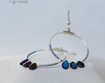 Minimalist earrings, beaded hoop earrings, silver hoops, wire jewelry, blue hoop earrings, dangle earrings, boho jewelry, beaded earrrings