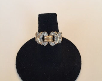 10 k gold ring , gold band, gold band with diamonds